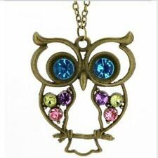 Vintage Rhinestone Owl Pendant Long Chain Necklace Fashion Jewelry USA SELLER