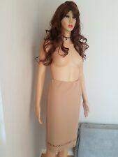 New Look Women's Beige Midi Scuba Skirt UK Size 14 Bnwt