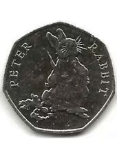 2018 Peter Rabbit 50p Fifty Pence Coin Eating Carrots and Radishes - 1 Day