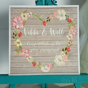 PERSONALISED Handmade Engagement Floral Heart Wreath Shabby Chic Printed Card