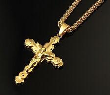 Iced HipHop Jesus Crucifix Cross Pendant Men 18K Gold Long Chain Necklace