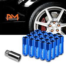 M12X1.25 Blue JDM Open-End Acorn Hex Wheel Lug Nut+Extension 25mmx60mm Tall 20Pc