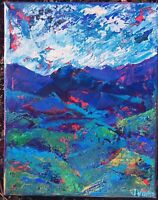 BLUE & GREEN MTNS Original Abstract Landscape Knife Painting TEXTURE 8x10