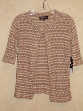 JONES NEW YORK Collection Petite Beige & White Stripe Button Cardigan Sweater PM