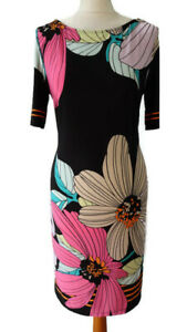 M&S Size 12 Black Pink Floral Shift Stretchy Dress Below Knee Party Occasion