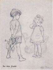 """uralte AK, Bleichstiftz. """"Aus dem Kinderleben"""" Reihe 1: Der böse Bruder, 1917"""
