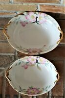 Set of 2 Noritake Azalea Oval Vegetable Serving Bowls 9 and 10 inches