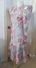 "JUDY HORNBY COUTURE $1215 Metallic Silk Floral Dress Ruffled Hem '80s NWT 38"" B"