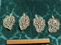 Antique French Handmade Leaf Lace Appliqués W/ Chenille Embroidery~5X3.5~Dolls**