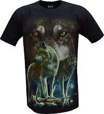 Wolf Pack Biker Nativa Americana India Animal T-Shirt, frontal y posterior impresión M-xl