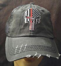 Punisher Baseball Cap Unstructured  Distressed Mesh Trucker Hat Red Line SWAT