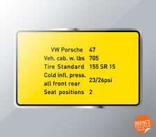 Tire pressure decal (suitable for Porsche 914)