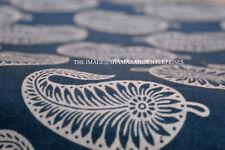 2.5 Yard Indian Blue Indigo Hand Block Print Cotton Fabric Dressmaking Sewing