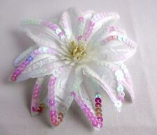 Sequin Flower Hair Clip White Glitter Bridal Ponytail Band Pin 6 Inches