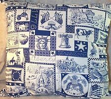 """Home Décor' Pillow 18"""" Square Patriotic Print Statue of Liberty Navy White"""