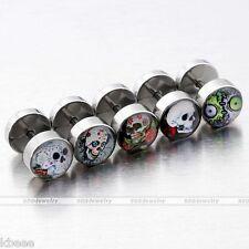 10pc Skull Zombie Silver Steel Barbell Fake Cheater Stretcher Ear Plug Earrings