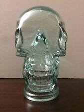 "Blue Glass Human Skull Head 10"" Tall Heavy Thick Art Statue Skeleton"