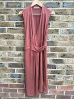 ALLSAINTS Sleeveless Dress Size 12 UK | EU 40 Rusty Red Long Halter Maxi