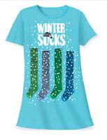 Relevant Winter Socks Night Shirt Sleepshirt Blue