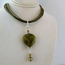 Irish Connemara Marble Heart Necklace w/ Swarovski Crystals beads & pearls
