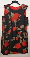 Tahari By ASL NEW Black/Red/Green Womens Size 14W Plus Floral Sheath Dress $148