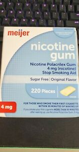 MEIJER Nicotine Gum 4Mg 220 Pcs Original Flavor Sugar Free Sealed Free Shipping