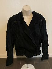 Vintage Yearbook Black Leather Jacket Women Size Medium Bomber Tassels Coat