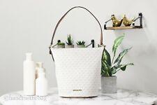 Michael Kors Brooke Medium Zip Bucket Messenger Bag Vanilla Signature MK Leather