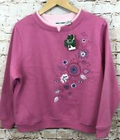 Shenanigans sweatshirt womens Petite Large VTG New floral embroidery layered G5