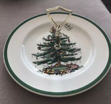 Spode Christmas Tree Tidbit Tray Plate With Gold Handle