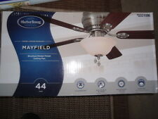 "Harbor Breeze 44"" Mayfield Brushed Nickel Flush Mt Indoor Ceiling Fan Light Kit"