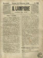 Il Lampione di Collodi Giornale Satirico Risorgimento N. 52 - 13 Settembre 1848