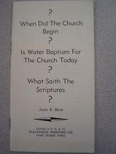 When Did The Church Begin? - John Moir - Plymouth Brethren - Walterick Printing