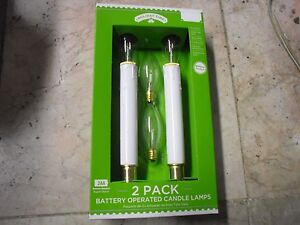 New Holiday Time 2 Pack Battery Operated Candle Lamps