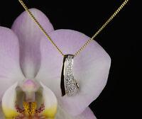Anhänger mit Kette - Gold 333 Diamanten 0,05 ct 20,5 x 8 mm  Länge 42 cm Collier
