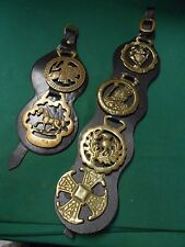 Magnificent 2 Vintage LEATHER and BRASS Wall Straps Decor..marked WALES..