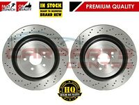 FOR MERCEDES C63 S63 AMG GT 14- REAR PREMIUM DRILLED & GROOVED BRAKE DISCS 360mm