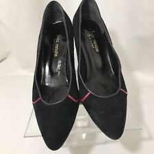 Vintage 80's Insa Renate Black Suede Pumps Shoes Size 10 Italy Colorful Piping