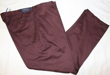 Polo Ralph Lauren Big and Tall Mens Maroon Flat-Front Dress Pants NWT 44 B x 32