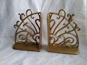 Vintage Pair Gold Gilt Scroll Cast Iron Doorstop Bookend