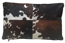 Brown & White Rectangular Cowhide Pillow DEXTER. Double sided leather pillow