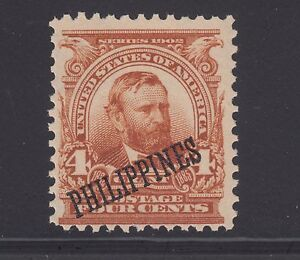 Philippines Sc 229a MNH. 1903 4c orange brown Grant with diagonal overprint