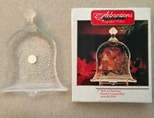 """NEW Celebrations Crystal Clear 7"""" Frosted Holiday Bell Plate Christmas Decoratio"""