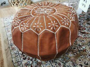 Tan Genuine Leather Pouffe Moroccan Handmade Pouf Footstool Poufe New