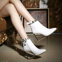 Chic Womens Leather Pointy Toe Transparent High Wedge Heel Shoes Zip Ankle Boots