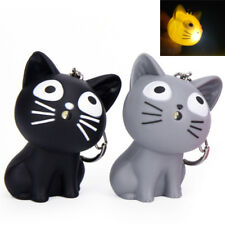 Cute Cat Keychain LED Lights Key Ring Pendant Sound  Funny Keychains Cat MO