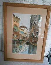 Venice painting w/gondola matted, framed & signed lovely