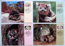 AUSTRALIA WILDLIFE 1992 4 MAXIMUM CARDS FD 13 AUG 1992