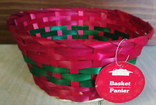 """Christmas House Round Bamboo Basket Storage Fruit Flowers Gifts 8.5"""" -  RED"""