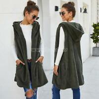 Women Long Sleeve Fleece Cardigan Long Vest Sleeveless Hooded Outwear Overcoat